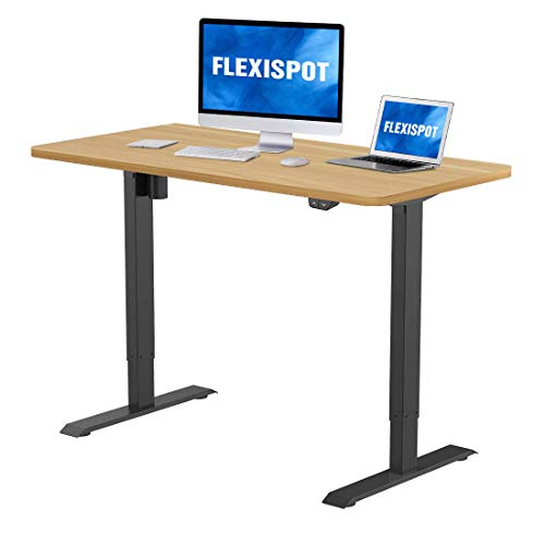 FLEXISPOT Electric Height Adjustable Standing Desk Heavy Duty Steel Stand Up Desk Frame w/Automatic Smart Keypad (Black Frame + 48 in Maple Top)