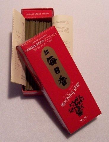Morning Star-Incenso al legno di sandalo, 200-Porta bastoncini & Nippon Kodo, colore: argento 171