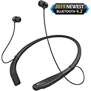 #LightningDeal Yuwiss Bluetooth Headphones Neckband V4.2 Lightweight Wireless Headset Call Vibrate Alert Sport Earbuds w/Mic Earphones 10-Hour Playtime for Gym Running Compatible with iPhone Samsung Android (Black)
