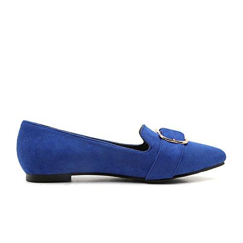 JIEEME Ladies Spring Pointed toe Flat Buckle strap Flock leather Women Espadrilles Fashion Blue Black Single shoes Blue UlXsWCk3q