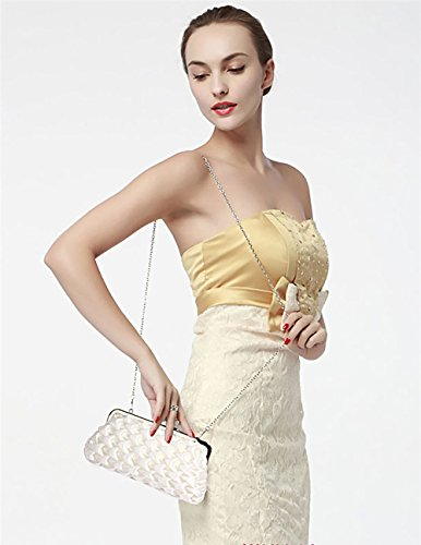 Chain With Pattern Evening Clutch Ladies 1 Ivory Design Womens Purse Wave Satin New Designer Handbag XPYqpvY