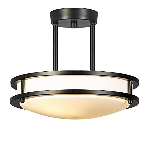 Glanzhaus 11.8 Inches 13W( 60W Equivalent) Black Bronze with White Tempered Acrylic Shade Flush Mount Ceiling Light, 2 Lights Ceiling Lamp for Living Room Bedroom