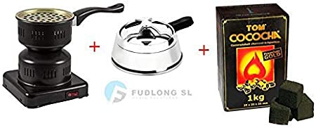 [Pack] 1kg CARBÓN para cachimba TOM COCOCHA Premium Gold, HORNILLO 450W Encendedor cachimba bajo Consumo y Regulador de Carbón Premium