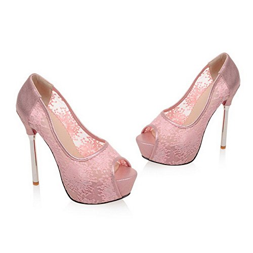 AllhqFashion Women's Peep Toe Pull On Mesh Legging Solid Spikes Stilettos Sandals Pink cBomNd
