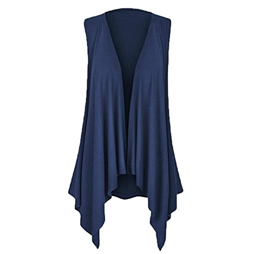 Price comparison product image Joopee Womens Casual Solid Sleeveless Irregular Hem Open Front Cardigan Draped Blouse (Navy,  S)