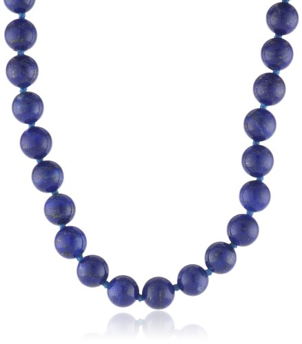 14k Yellow Gold 8mm Lapis Lazuli Bead Necklace, 17'' by Amazon Collection
