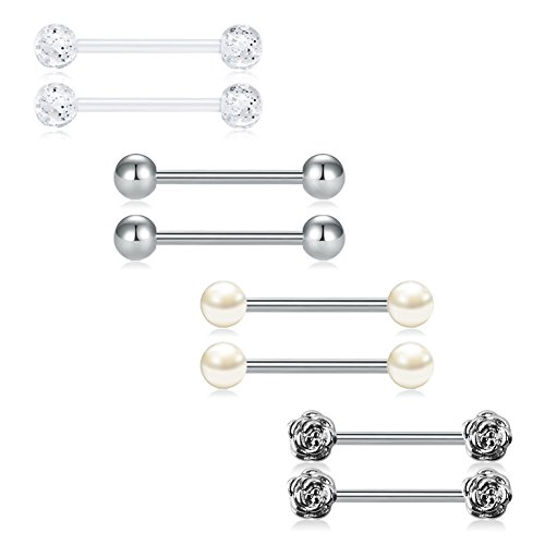 """JFORYOU 14G Nipple Rings Tongue Rings 316L Surgical Steel Straight Barbell Nipple Tongue Piercing Body Piercing Jewelry 5/8""""(16mm)"""