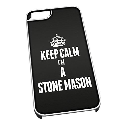 Bianco cover per iPhone 5/5S 2684nero Keep Calm I m A Stone Mason