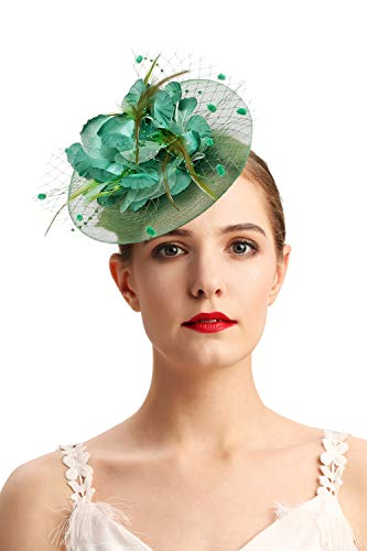 (Fascinators Hats for Womens 50s Headwear with Veil Flower Cocktail Wedding Tea Party Church Derby)
