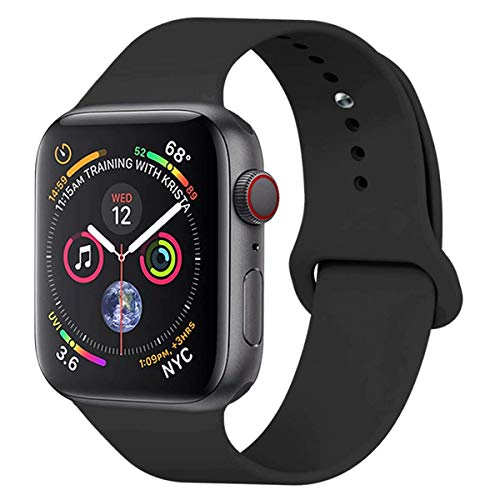 Pttech Band for 38mm Apple Watch,Soft Silicone Sport Band [3 Pieces for 2 Lengths] Large/Small Wrist Strap Replacement for Apple Watch 1 2 3 All Models 38mm - Black