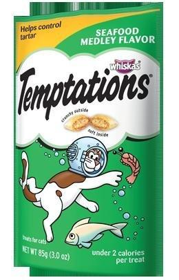 Whiskas Temptations Cat Treats Seafood Medley Flavor 2 Bags Tartar Control Treats, My Pet Supplies