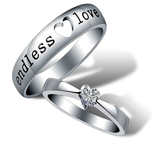 MoAndy Endless Love for Couple Matching Ring Set Promise Engagement Band Ring by MoAndy