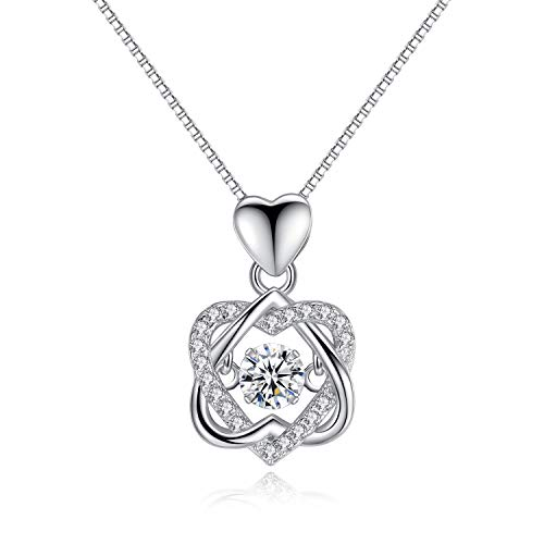 - VANA JEWELRY Heart Necklace Dancing Diamond Pendant Necklaces 925 Sterling Silver Crown Love Open Heart/Triangle Pendant/Angle Dainty Jewelry Women Gift for Her Anniversary w/Gift Box (heart-white)