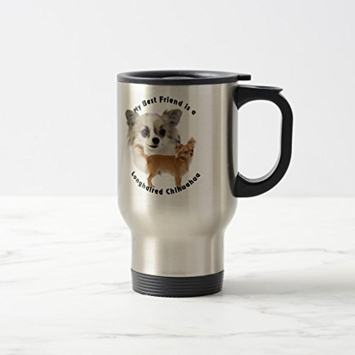 hihuahua Longhaired Coffee Mug, Stainless Steel Travel/Commuter Mug 15 oz (Chihuahua Travel Mug)