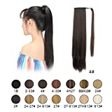 BARSDAR 26' Long Straight Wrap Around Synthetic Ponytail Clip in Hair Extensions One Piece Hairpiece Binding Pony Tail Extension for Women Lady Girl - Dark Brown