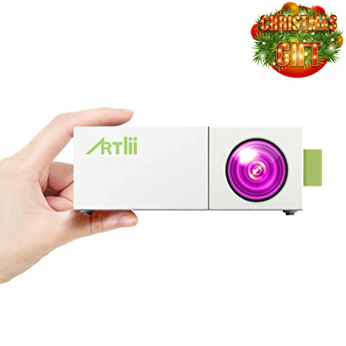 Artlii Portable Mini Home 1080P Projector with USB/SD/AV/HDMI Input for TV/ Movie/ Game/ Art working /Camping Pocket Projector Interface US Version with Warranty