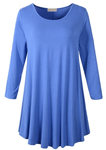 (LARACE Women 3/4 Sleeve Tunic Top Loose Fit Flare T-Shirt(2X,)