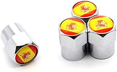 4 Pcs/Set Válvula del neumático Tapones Antipolvo Bandera Nacional España Aleación de Aluminio/Cobre para automóviles: Amazon.es: Coche y moto