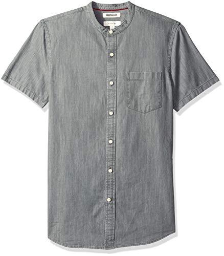 Goodthreads Men's Slim-Fit Short-Sleeve Band-Collar Denim Shirt, -washed black, Large
