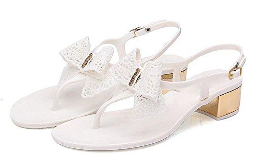 pendiente de verano con las sandalias de tacón alto huecos de las sandalias de la hebilla de las mujeres con zapatos de suela gruesa en White