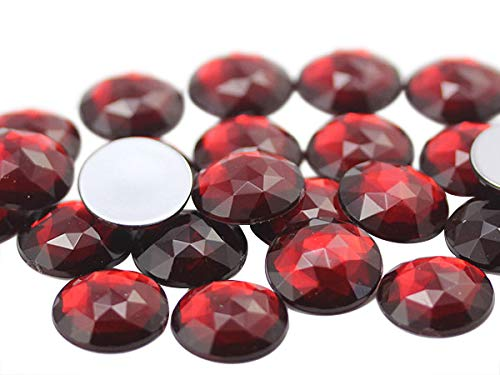 25mm Ruby Garnet A28 Flat Back Round Acrylic Jewels High Quality Pro Grade - 20 Pieces (Red Craft Gems)