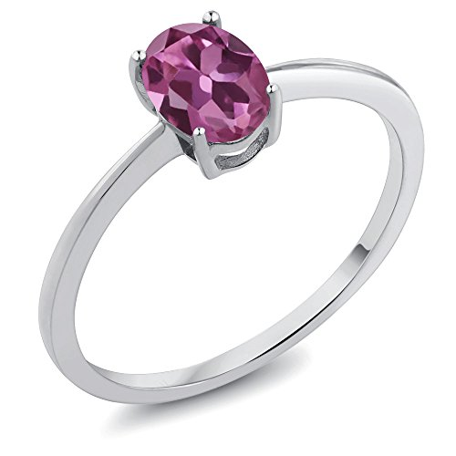 White Gold Pink Tourmaline Ring (0.70 Ct Oval Pink Tourmaline AA 10K White Gold Women's Solitaire Ring (Available in size 5, 6, 7, 8, 9))