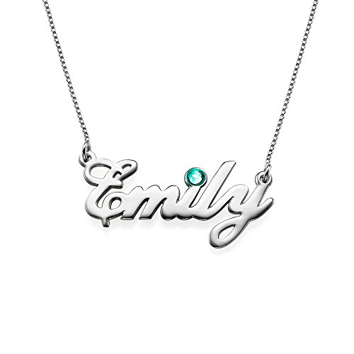 Sterling Silver Personalized Name Necklace with Swarovski Birthstone Pendant - Custom Made Jewelry