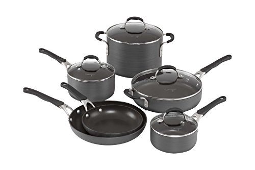Calphalon 10 Piece Hard-Anodized Aluminum Nonstick Cookware Set, Medium, Black