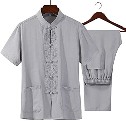 FHKL Ropa Tradicional Traje Tang - Artes Marciales Tangzhuang Kung Fu Trajes Traje Uniforme De Camisa,Grey-M: Amazon.es: Deportes y aire libre