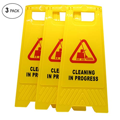 AMENITIES DEPOT (Pack of 3) 2-Sided Fold-Out Floor Safety Sign with Cleaning in Progress ...