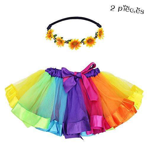 Layered Tulle Rainbow Tutu Skirt for Toddler Girls Princess Dance Dress Up with Daisy Flower Headband(Rainbow) ()