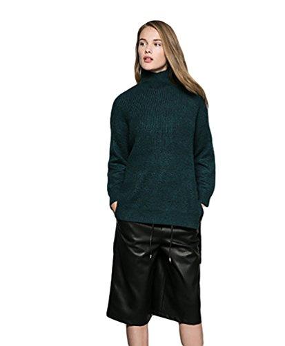Baymate Mujeres Suéter Suelto Manga Larga Jersey Irregular Dobladillo Prendas de Punto Pull-over Verde