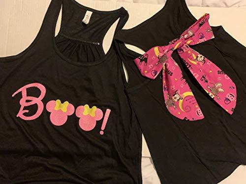 Handmade Disney Halloween Shirt with Bow on Back Minnie Boo with Minnie Halloween Detachable Bow]()