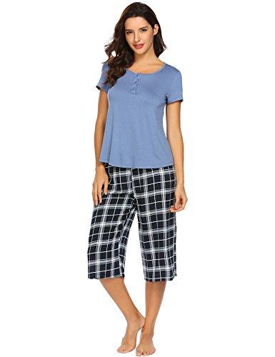 (sholdnut Womens O Necek Short Sleeve Solid Shirt with Loose Plaid Capri Pant 2 Piece PJ Set)