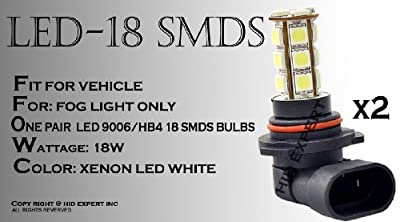 9006 18SMD LED Hyper White Fog Light Direct Replace Bulb 2 pcs