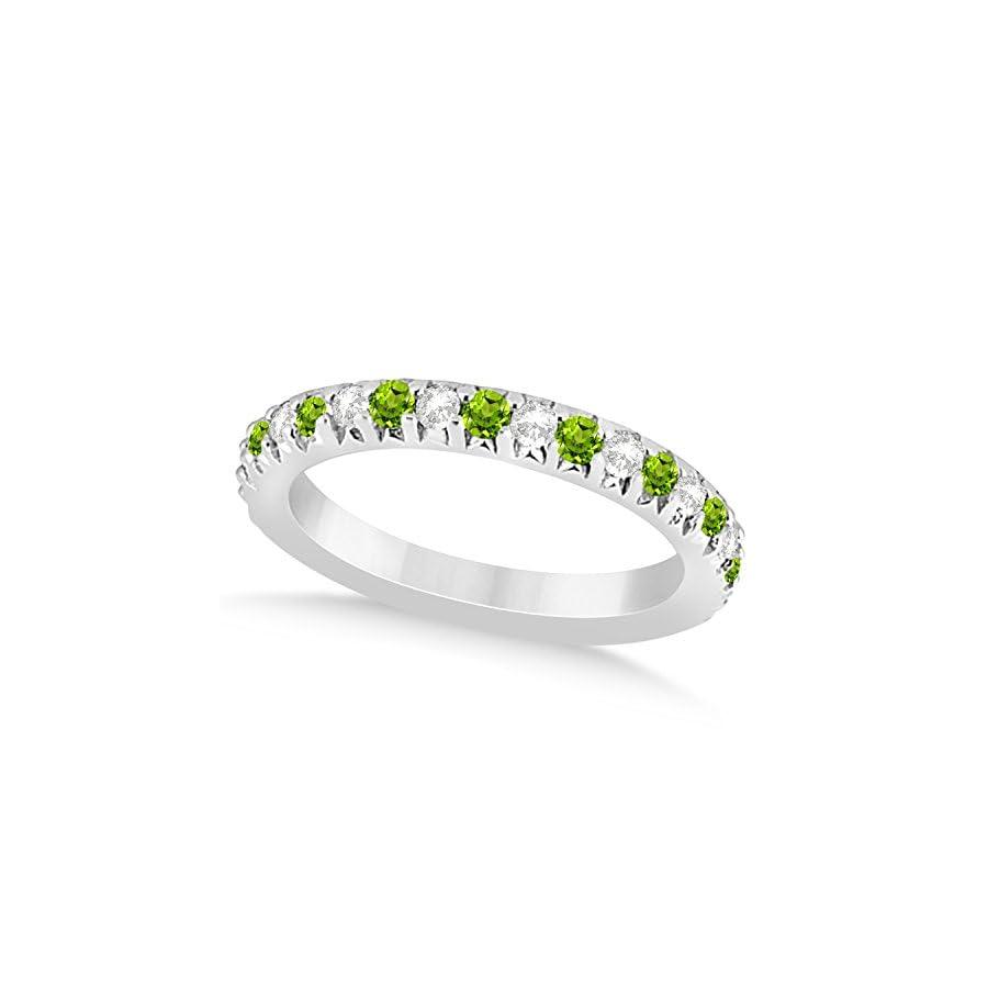 (0.60ct) Palladium Peridot and Diamond Accented Prong Set Wedding Band
