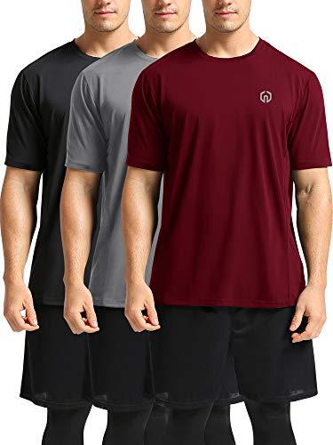Neleus Men's Workout Shirts Short Sleeve Athletic Running T-Shirt,3 Pack,Black/Grey/Burgundy Red,XL,EU - Workout Athletic Shirt