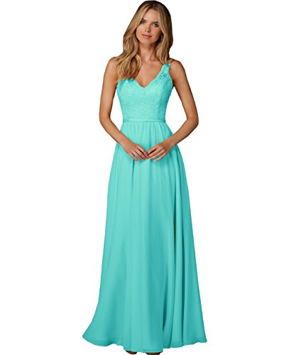 Women's Floor Length A Line V Neck Chiffon Evening Prom Dress Lace Long Formal Bridesmaid Gown with Waistband Turquoise (Length A-line Dress Gown)