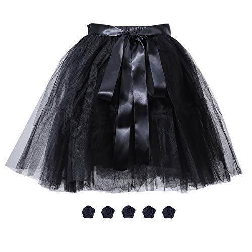 Women's Solid A Line High Waist Princess Tulle Skirt Grils's Tutu Skirt Dance Tutu Flowers for DIY Black -