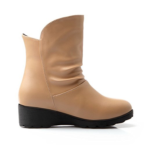 Allhqfashion Women's Soft Material Round Closed Toe Solid Low-Top Low-Heels Boots Apricot oPKWyiuU
