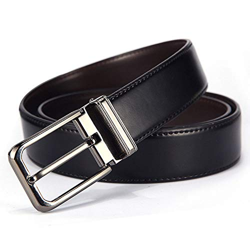 PLLP Men's Double-Sided Belt, Classic Alloy pin Buckle Belt, Leather Belt, Fashion Belt, Gift Belt,Double-Sided co,One Size