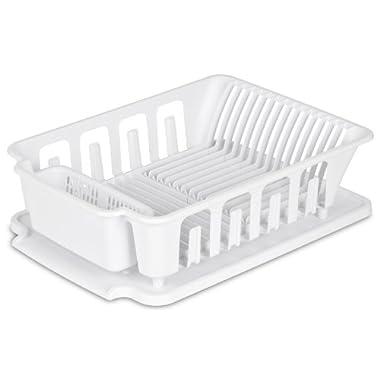 Sterilite 2-piece Large Sink Set Dish Rack Drainer, White