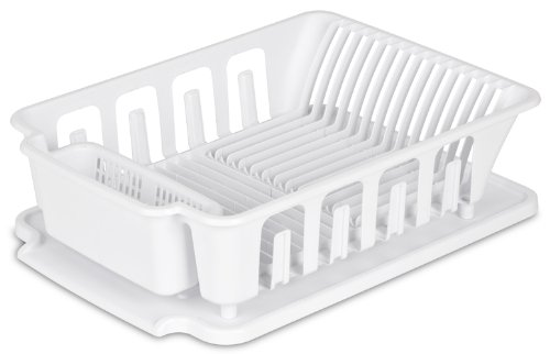 "Sterilite 2-piece Large Sink Set Dish Rack Drainer, White (18 3/4"" L x 13 3/4"" W x 5 1/2"" H)"