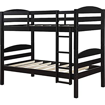Amazon Com Mainstays Twin Over Twin Wood Bunk Bed Black Kitchen