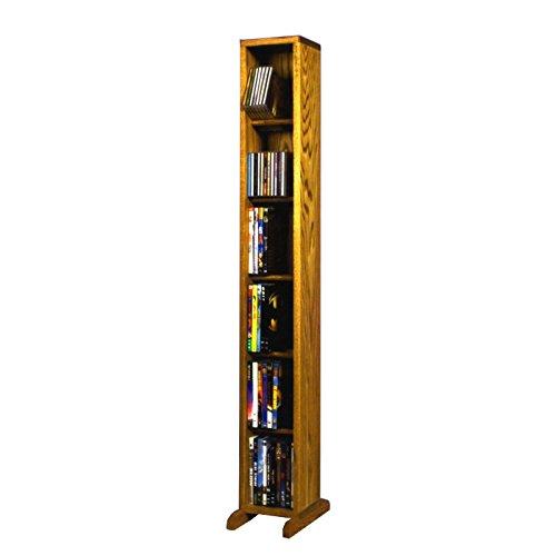 80 Dvd Storage Rack - 6 Row Dowel DVD Tower (Honey Oak)