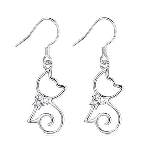 MASOP Cute Kitten Cat Earrings 925 Sterling Silver Hook Ears CZ Zirconia Women Gilrls Jewelry