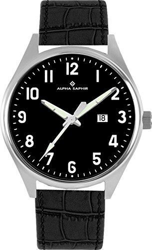 Alpha Saphir Reloj Analógico para Hombre de Cuarzo con Correa en Cuero 376C: Amazon.es: Relojes