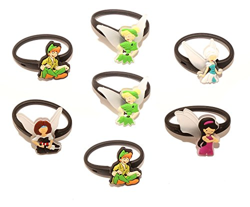 AVIRGO 7 pcs Releasable Ponytail Holder Elastic Rubber Stretchable No-slip Hair Tie Set # (Crocodile From Peter Pan Costume)