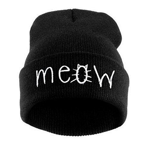 BEAUTYVAN Cap Vintage Winter Knitting Beanie Hat Hiphop Cap (Black)