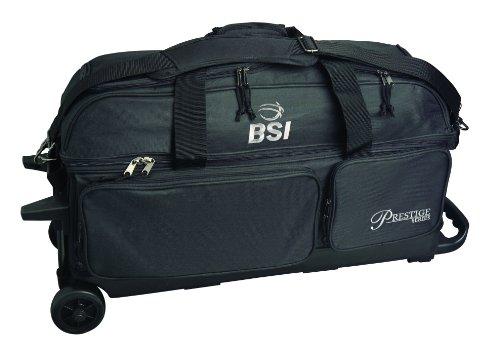 BSI Prestige Series Triple Ball Roller Bag (Black/Silver Logo)